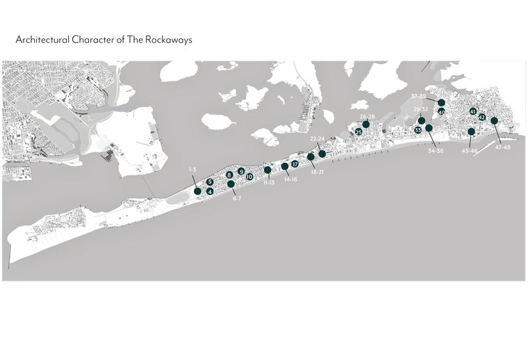 Map displaying architectural character of Rockaway