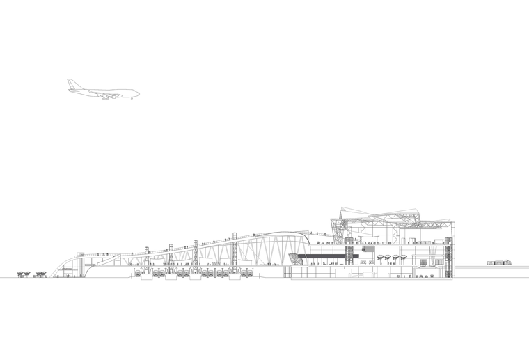 Section Drawing of the Newark Airport Transit Center and Headhouse