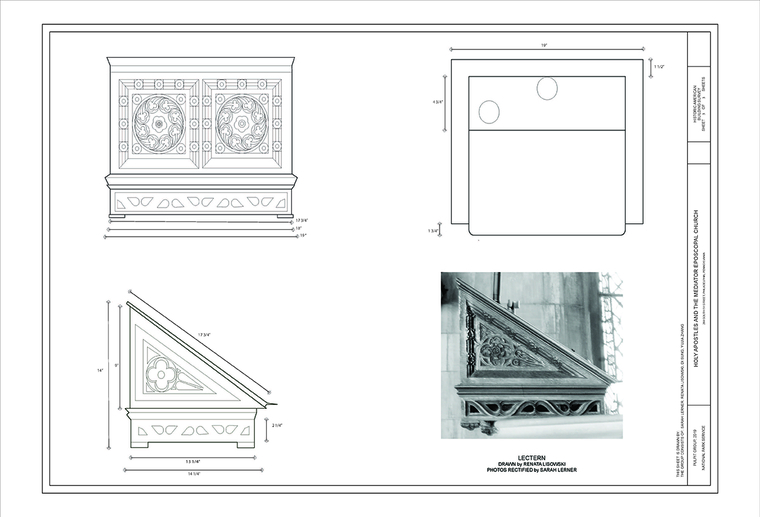 Sheet documenting the parts of pulpit in a church