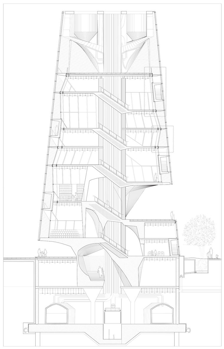 Architectural rendering of a complex building