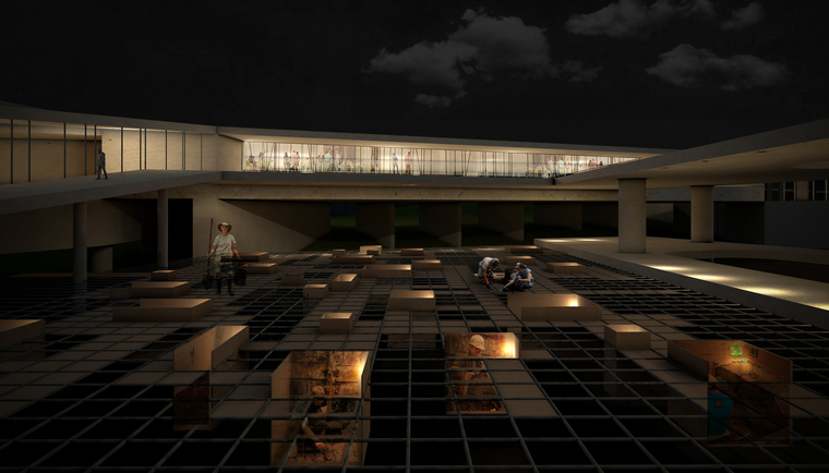 This rendering represent the excavation site at night