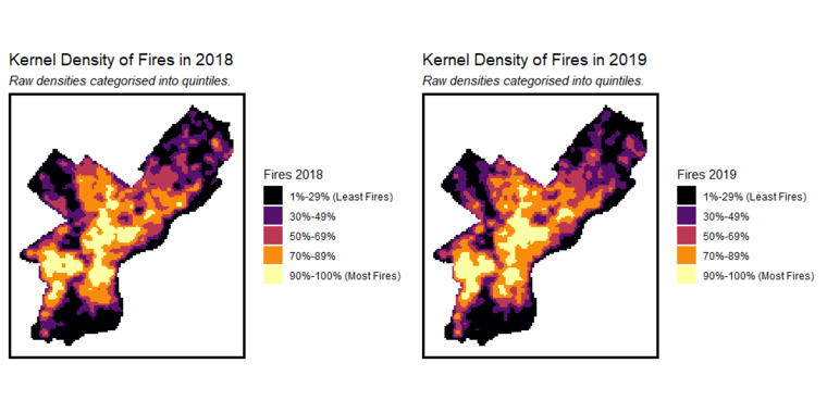 Map showing fire rates in Philadelphia