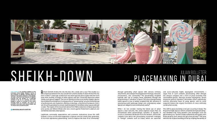 "Article titled ""Sheikh-Down: Placemaking in Dubai"""