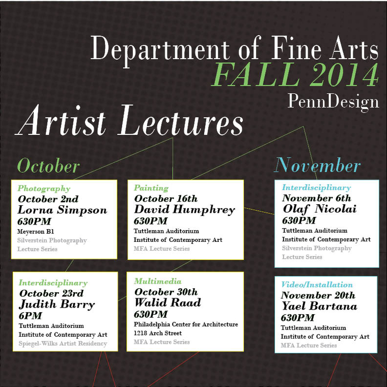 Poster showing schedule for artists lectures 2014