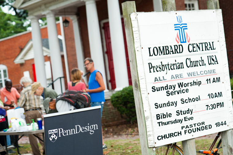 Church picnic happening in front of Lombard Street Presbyterian Church