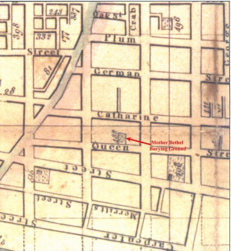 A historic map of Philadlephia indicates the site of the Bethel Burial Ground