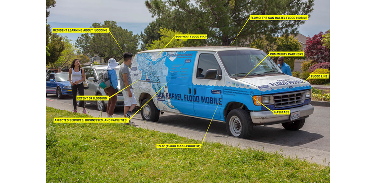The San Rafael Floodmobile with features highlighted