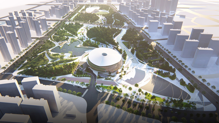 Rendering of sports stadium surrounded by park.