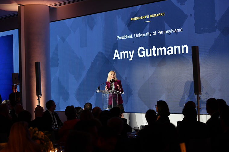 Dr. Amy Gutmann, president of the University of Pennsylvania, at the PennDesign Awards