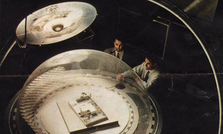 Overhead shot of two men in a laboratory