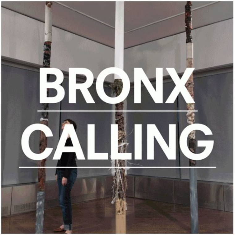 Poster for 'Bronx Calling', Background: Gallery with pieces installed.