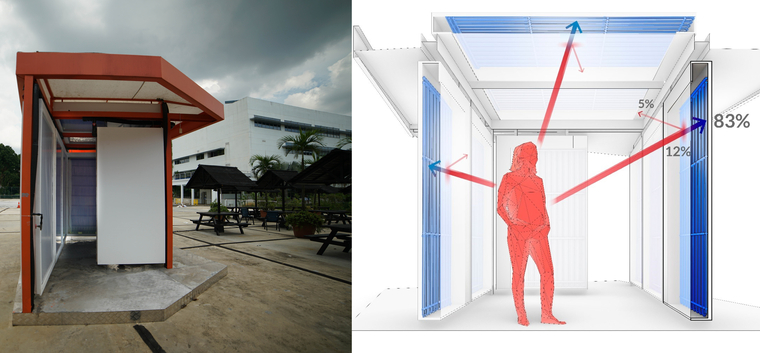 Image on left shows a short built hallway outdoors with cement floors and red trim. Right image shows illustrative diagram.