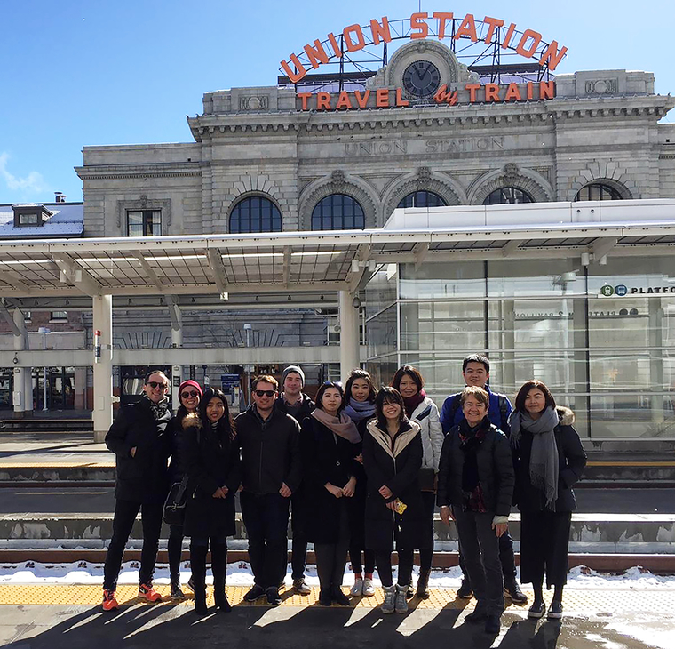 Group photo outside of Denver Union Station
