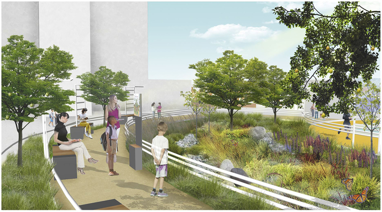 Rendering of proposed design showing people looking at the greenery next to a path