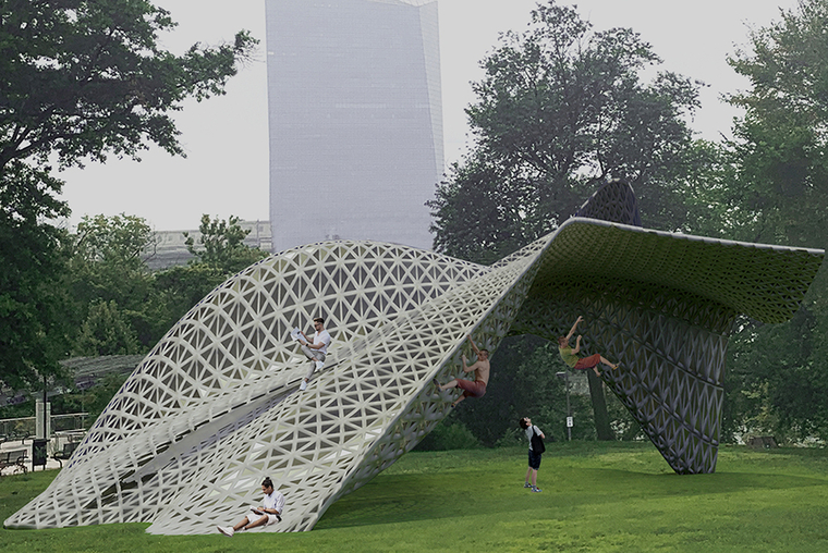 A person sits atop a gray lattice structure shaped like bandshell that has been crumpled on one end. Two other people climb.