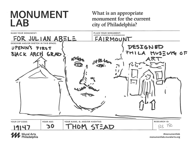 A proposal for a monument to Julian Abele, the first African-American graduate of PennDesign, from Philadelphia resident Thom Stead