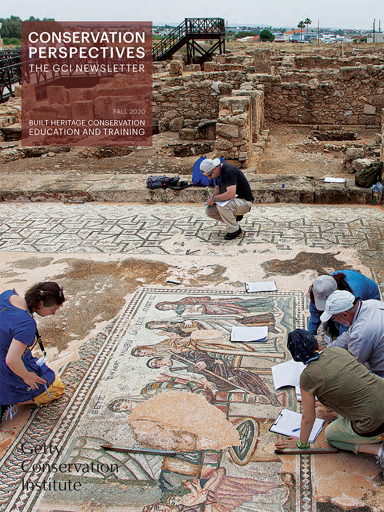 Cover of Getty Conservation Institute newsletter showing people working on an ancient mosaic