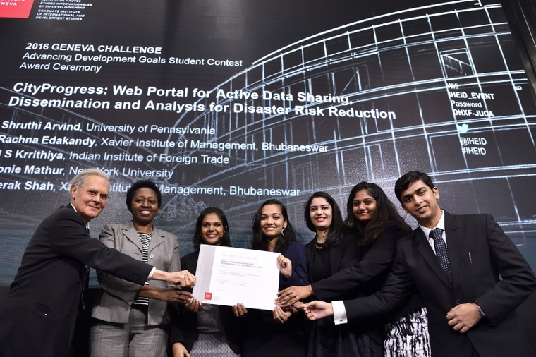 City and Regional Planning Student Shruthi Arvind and her team at the 2016 Geneva Challenge