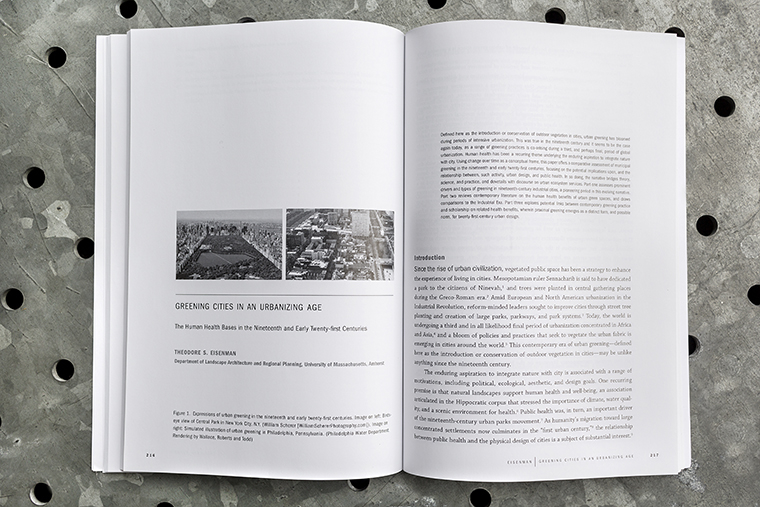 """Open copy of """"Greener Cities and Human Health"""". Chapter heading: Greening Cities in an Urbanizing Age"""