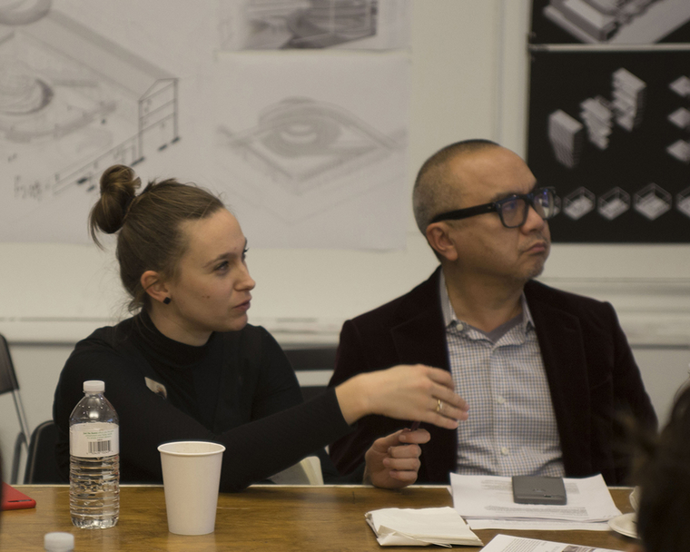 Hochhäusl during fall 2018 final graduate architecture reviews