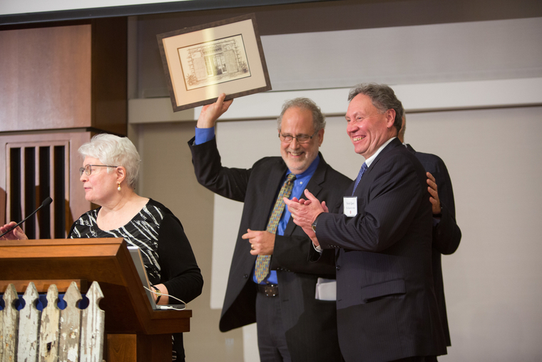 David Hollenberg (center), recipient of the 2015 Wyck-Strickland Award. Photo Eileen Rojas.