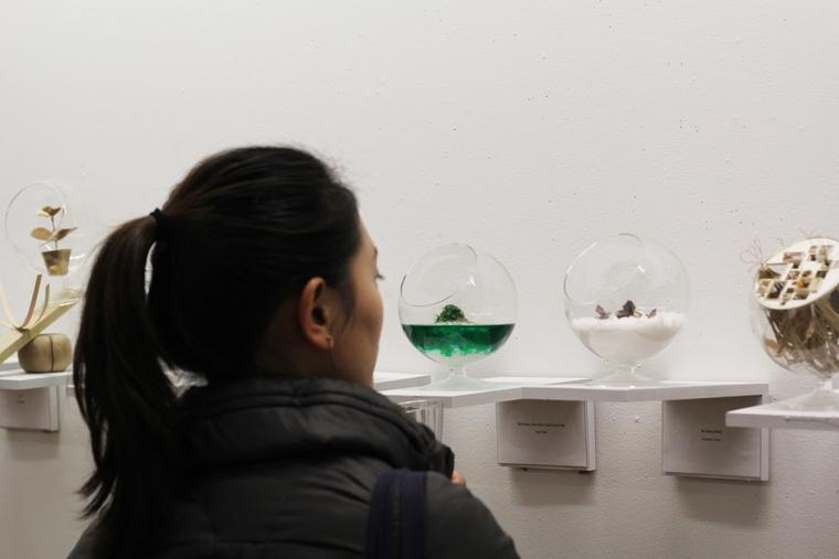 Student examining art pieces