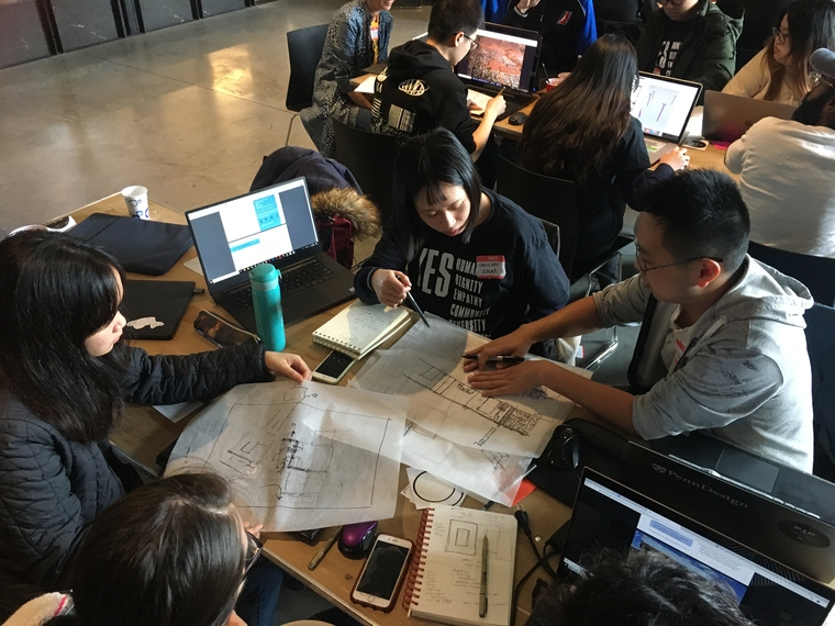 "Students participating in ""hackathon for good"""