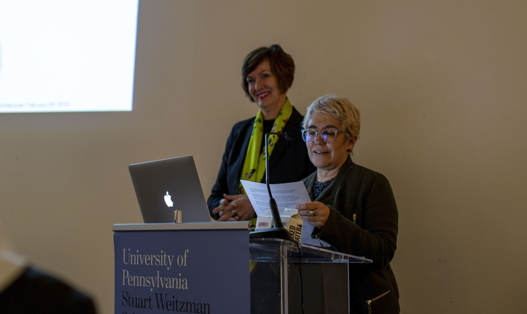 Annette Fierro announcing winner with Winka Dubbeldam behind her