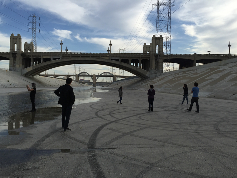 Graduate architecture students in the L.A. River channel for a studio led by Florencia Pita, 2017