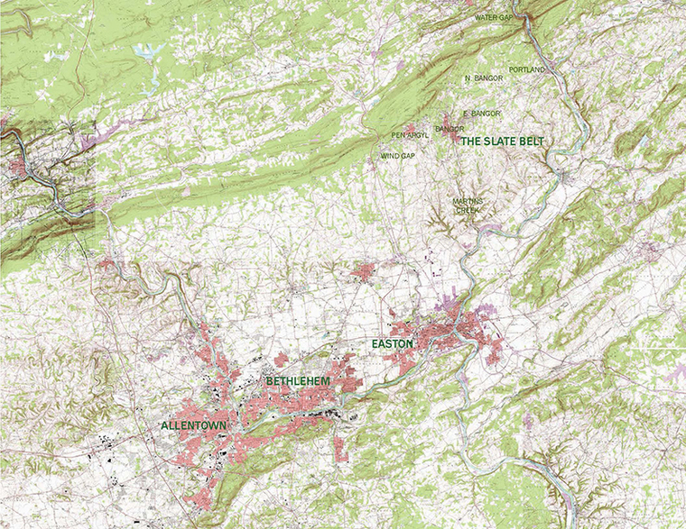 Map of the slate belt
