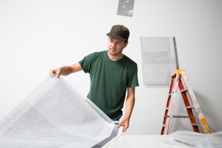 Micah Danges working in studio