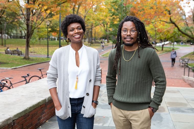 Eboni Hawkins and Sean Smith on the Meyerson patio with Locus Walk in background