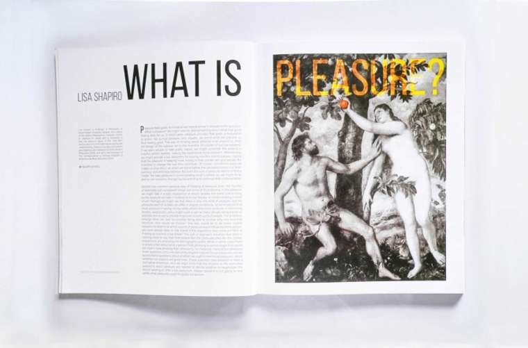 Open magazine with article titled 'What is Pleasure?'