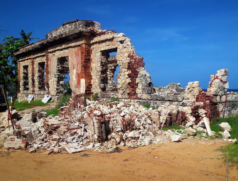 Collapsed ruins of the Punta Borinquen Lighthouse in Aguadilla, Puerto Rico in November of 2017.