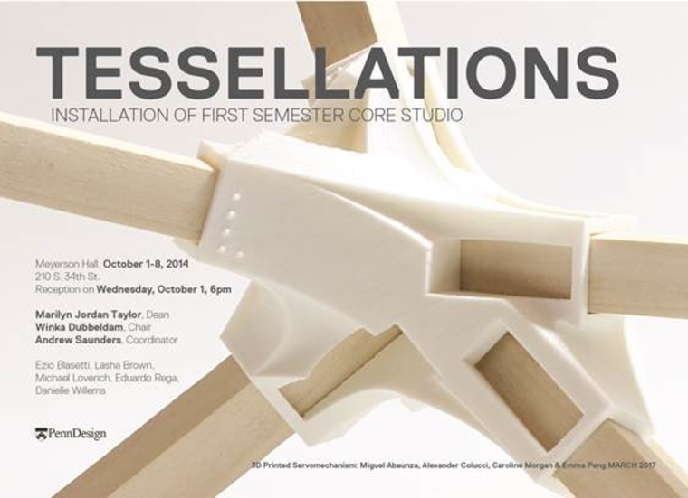 Sign for Tesellations exhibit. Background is photo of a very complex tesellation
