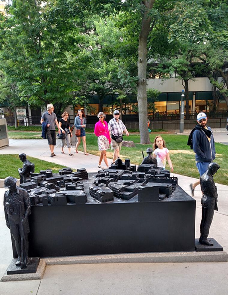 Ken Lum, public art war memorial, Nathan Phillips Square, Toronto, 2016, Photo: Ken Lum