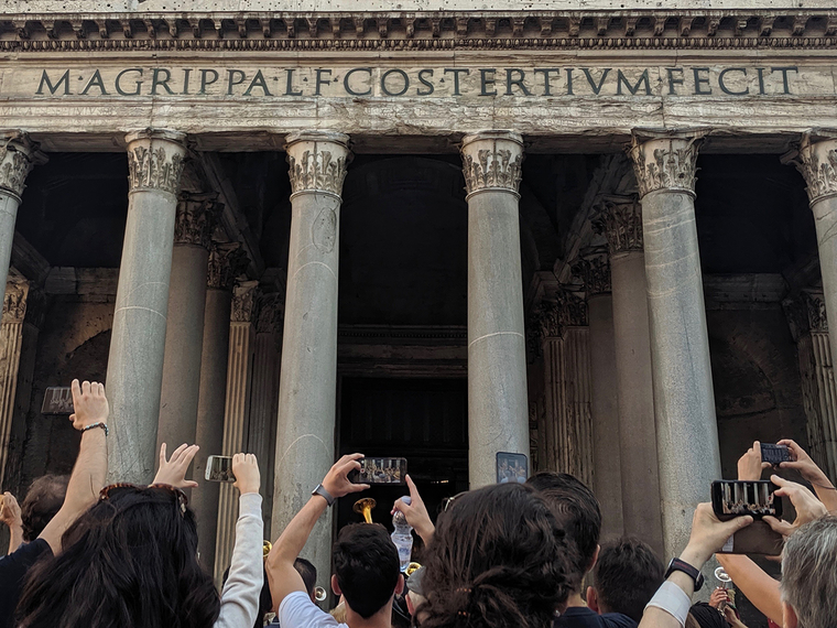 Tourists photographing the Pantheon