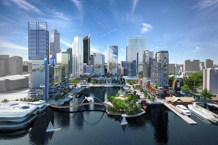 Rendering of cityscape design
