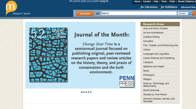Journal of the Month: Change Over Time is a semiannual journal focused on publishing original, peer-reviewed research papers and review articles on the history, theory, and praxis of conservation and the built environment.