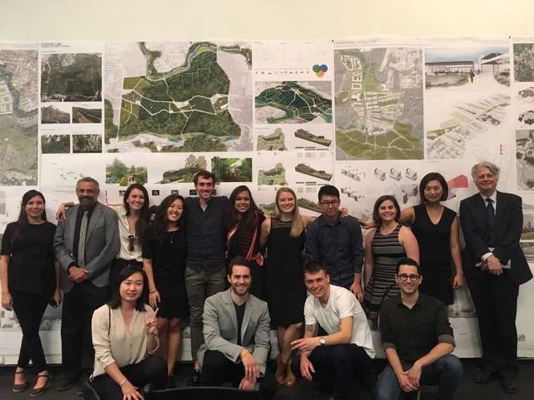 Faculty member David Gouverneur (second from left), PennDesign Dean Fritz Steiner (right), and students in the interdisciplinary studio