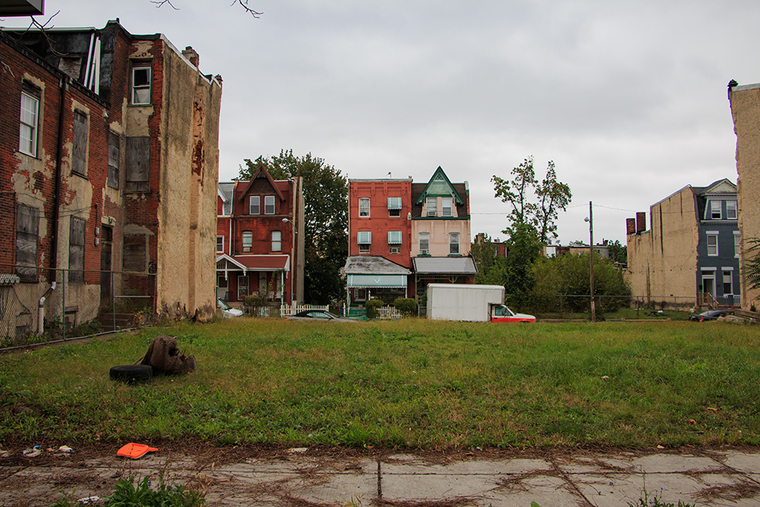 A lot in the Strawberry Mansion neighborhood, Philadelphia.