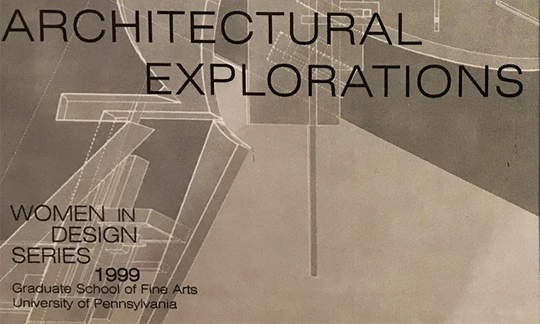 Detail of an archival flier for a 1999 Women in Design event