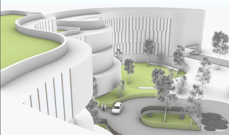 Rendering of the entry of a new medical building