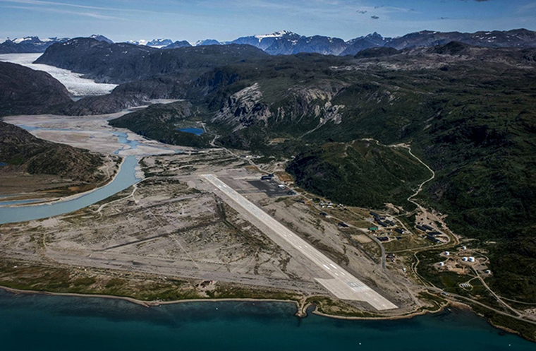 Aerial view of Narsarsuaq, Greenland, showing the airstrip, the treeless landscape, and the beginning of the ice cap.