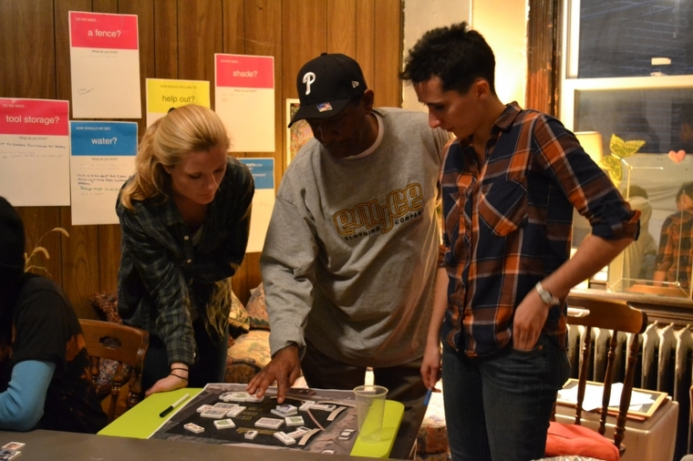 Students work with community members to provide interactive input into the garden design duringcharrette