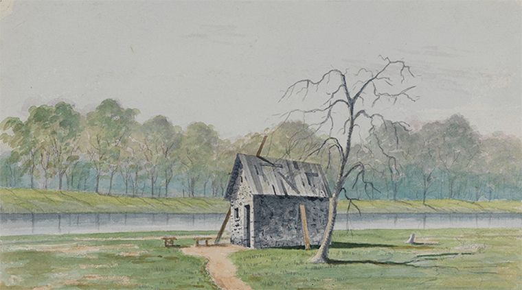 Watercolor showing a rundown house next to a river