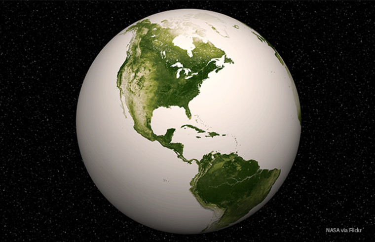 Image of earth with oceans colored white