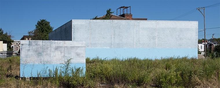 Two walls of industrial buildings