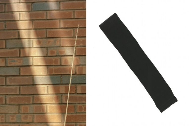 Picture of a brick wall next to a picture of a thick diagonal black line