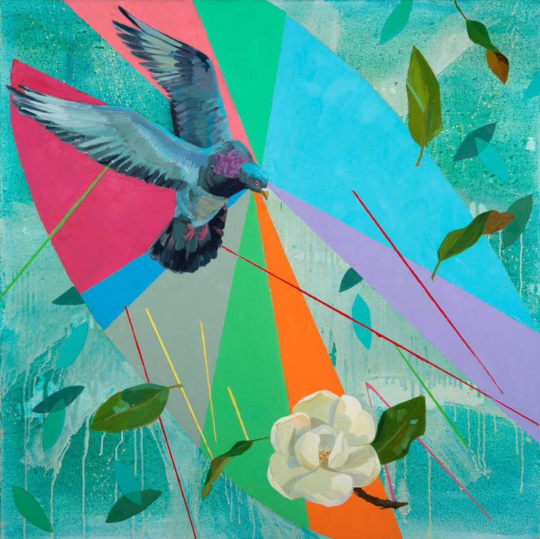 Deirdre Murphy painting featuring pigeon, rose and colors radians